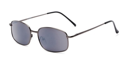 Angle of The Randy Reading Sunglasses in Matte Grey with Smoke, Men's Rectangle Reading Sunglasses