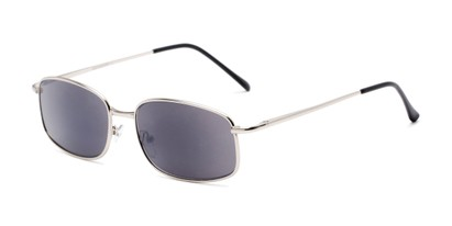 Angle of The Randy Reading Sunglasses in Matte Silver with Smoke, Men's Rectangle Reading Sunglasses