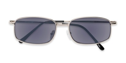 Folded of The Randy Reading Sunglasses in Matte Silver with Smoke