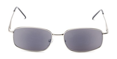 Front of The Randy Reading Sunglasses in Matte Silver with Smoke