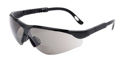 Angle of The Raymond Bifocal Safety Reading Sunglasses in Black with Smoke, Women's and Men's Sport & Wrap-Around Reading Sunglasses
