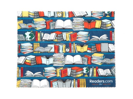 Front of Readers.com Microfiber Lens Cleaning Cloth in Blue Books