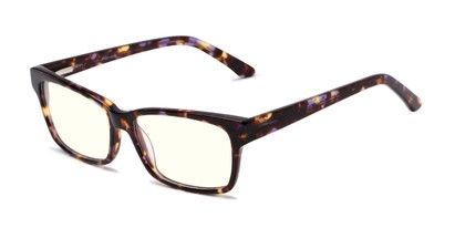 Angle of The Reid Blue Light Blocking Reader in Purple Tortoise, Women's and Men's Rectangle Reading Glasses