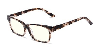 Angle of The Reid Blue Light Blocking Reader in Tan Tortoise, Women's and Men's Rectangle Reading Glasses