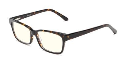 Angle of The Reid Blue Light Blocking Reader in Brown Tortoise, Women's and Men's Rectangle Reading Glasses