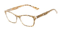 Angle of The Reya in Brown Cheetah, Women's Cat Eye Reading Glasses