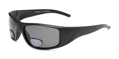 Angle of The Richmond Polarized Bifocal Reading Sunglasses in Matte Black with Smoke, Women's and Men's Sport & Wrap-Around Reading Sunglasses
