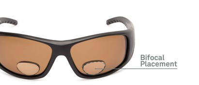Detail of The Richmond Polarized Bifocal Reading Sunglasses in Matte Black with Amber