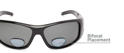 Detail of The Richmond Polarized Bifocal Reading Sunglasses in Glossy Black with Smoke