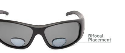 Detail of The Richmond Polarized Bifocal Reading Sunglasses in Matte Black with Smoke