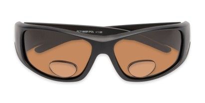 Folded of The Richmond Polarized Bifocal Reading Sunglasses in Matte Black with Amber