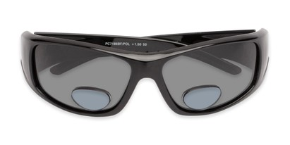 Folded of The Richmond Polarized Bifocal Reading Sunglasses in Glossy Black with Smoke
