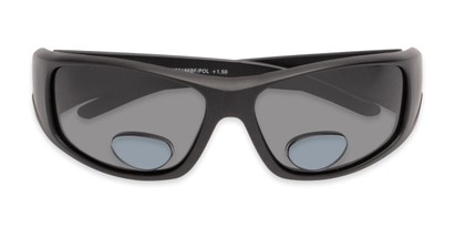 Folded of The Richmond Polarized Bifocal Reading Sunglasses in Matte Black with Smoke