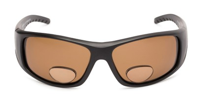Front of The Richmond Polarized Bifocal Reading Sunglasses in Matte Black with Amber