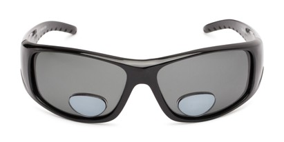 Front of The Richmond Polarized Bifocal Reading Sunglasses in Glossy Black with Smoke