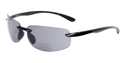 Angle of The Riverside Bifocal Reading Sunglasses in Black Frame with Smoke Lenses, Women's and Men's Rectangle Reading Sunglasses