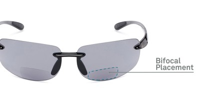 Detail of The Riverside Bifocal Reading Sunglasses in Black Frame with Smoke Lenses