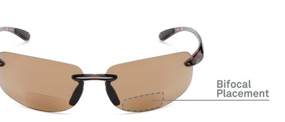 Detail of The Riverside Bifocal Reading Sunglasses in Brown Tortoise Frame with Amber Lenses