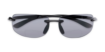 Folded of The Riverside Bifocal Reading Sunglasses in Black Frame with Smoke Lenses