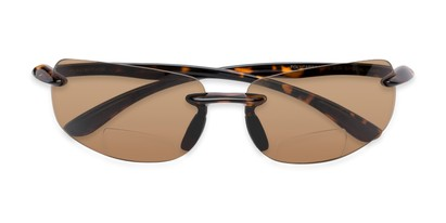 Folded of The Riverside Bifocal Reading Sunglasses in Brown Tortoise Frame with Amber Lenses