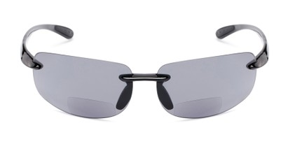 Front of The Riverside Bifocal Reading Sunglasses in Black Frame with Smoke Lenses