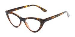 Angle of The Robin in Brown Tortoise, Women's Cat Eye Reading Glasses