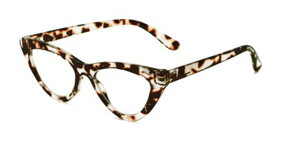 Angle of The Robin in Clear Tortoise, Women's Cat Eye Reading Glasses