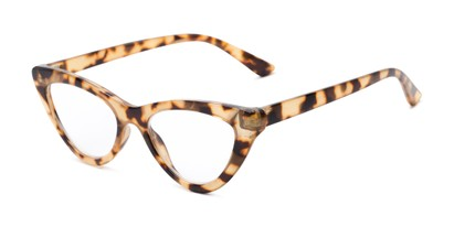 Angle of The Robin in Tan Tortoise, Women's Cat Eye Reading Glasses