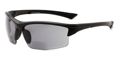 Angle of The Roster Bifocal Reading Sunglasses in Matte Black with Smoke, Women's and Men's Sport & Wrap-Around Reading Sunglasses