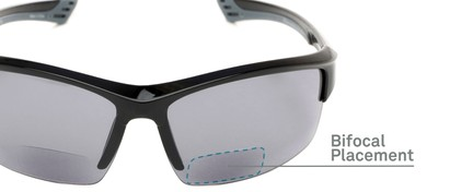 Detail of The Roster Bifocal Reading Sunglasses in Glossy Black with Smoke