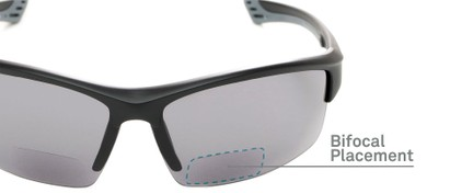 Detail of The Roster Bifocal Reading Sunglasses in Matte Black with Smoke