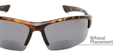 Detail of The Roster Bifocal Reading Sunglasses in Tortoise with Smoke