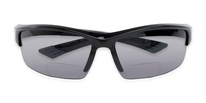 Folded of The Roster Bifocal Reading Sunglasses in Glossy Black with Smoke