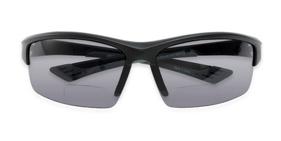 Folded of The Roster Bifocal Reading Sunglasses in Matte Black with Smoke