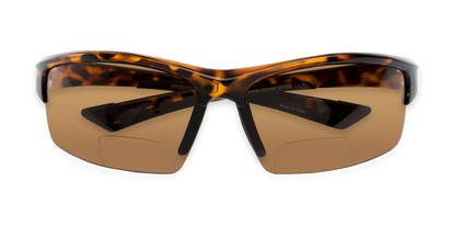 Folded of The Roster Bifocal Reading Sunglasses in Tortoise with Amber