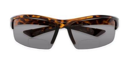 Folded of The Roster Bifocal Reading Sunglasses in Tortoise with Smoke