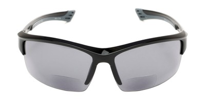 Front of The Roster Bifocal Reading Sunglasses in Glossy Black with Smoke
