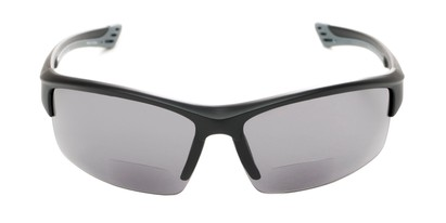 Front of The Roster Bifocal Reading Sunglasses in Matte Black with Smoke