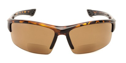 Front of The Roster Bifocal Reading Sunglasses in Tortoise with Amber