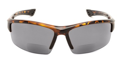 Front of The Roster Bifocal Reading Sunglasses in Tortoise with Smoke