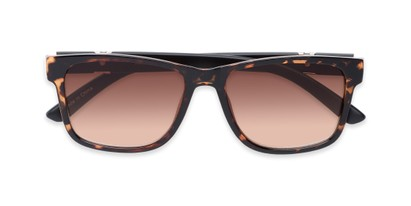 Folded of The Royal Reading Sunglasses in Glossy Tortoise with Amber