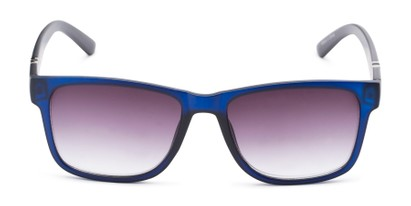 Front of The Royal Reading Sunglasses in Matte Blue with Smoke