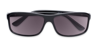 Folded of The Rufus Reading Sunglasses in Glossy Black with Smoke