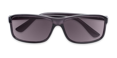 Folded of The Rufus Reading Sunglasses in Clear Black With Smoke