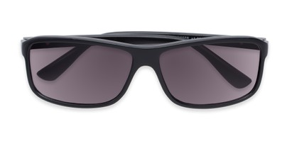 Folded of The Rufus Reading Sunglasses in Matte Black with Smoke