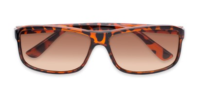 Folded of The Rufus Reading Sunglasses in Glossy Tortoise with Amber