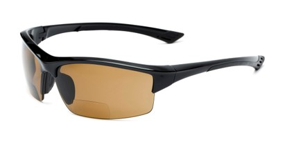 Angle of The Rush Polarized Bifocal Reading Sunglasses in Black with Amber, Women's and Men's Sport & Wrap-Around Reading Sunglasses