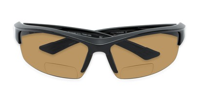 Folded of The Rush Polarized Bifocal Reading Sunglasses in Black with Amber