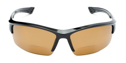 Front of The Rush Polarized Bifocal Reading Sunglasses in Black with Amber