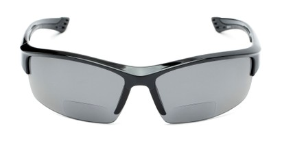 Front of The Rush Polarized Bifocal Reading Sunglasses in Black with Smoke